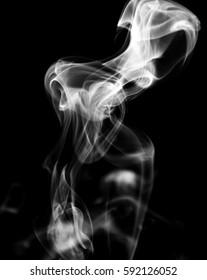 smoke on black background.smoking white.
