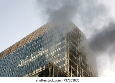 Smoke on the glass modern building in NYC