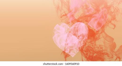 Smoke pink heart on peach background as a symbol of fragile nature of love