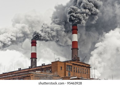 Smoke from pipes. Air pollution.