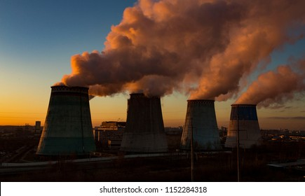 smoke pollution industrial tube of thermal station background