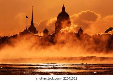 Smoke. Quay of St. Petersburg