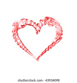 smoke red heart for valentine day isolated on white