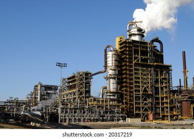 Smoke rising above a petrochemical plant