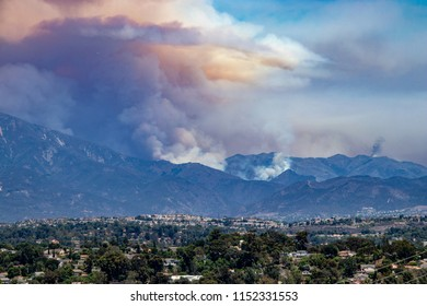 Smoke Rising from the Holy Fire in Orange County, California on 8/8/2018.  Fire Was Presumably Set by an Arsonist.