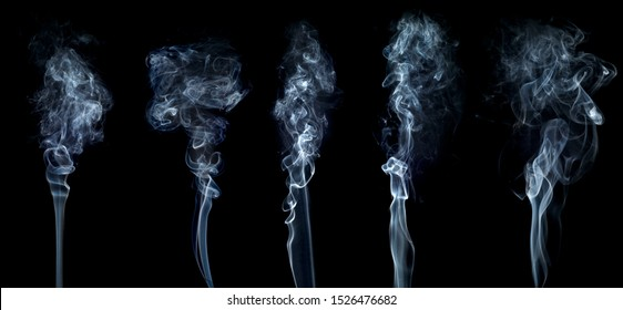 Smoke set isolated on black background. White cloudiness, mist or smog background.