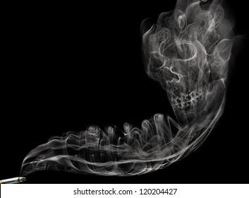 Smoke skull isolated on black background