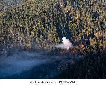 Smoke From Small Forest Fire Aerial View