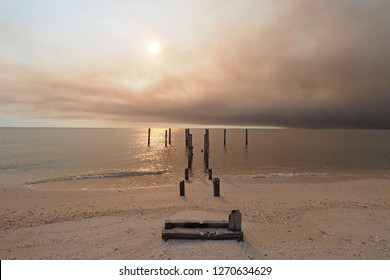 Smoke from a wildfire over the beach and Gulf of Mexico on East Cape Sable in Everglades National Park, Florida.