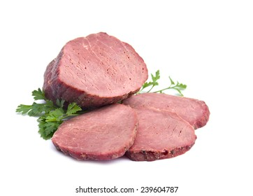 Smoked beef isolated on white background