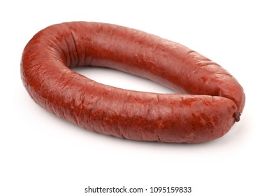 Smoked beef sausage isolated on white