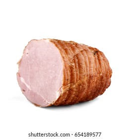 Smoked boneless piece of ham isolated on white background. Meatworks boiled ham product photo