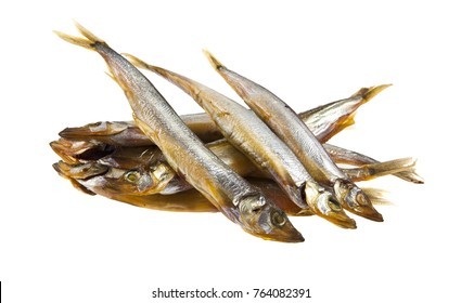 Smoked capelin isolated on white background