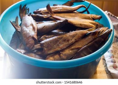 smoked fish grayling at home
