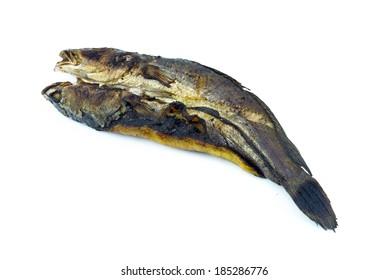 Smoked fish thai food isolate.