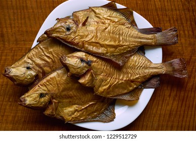 Smoked flounder on a plate