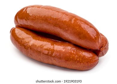 Smoked German Sausages, isolated on white background.
