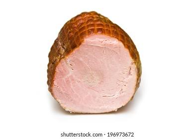 smoked ham on white background.  - Shutterstock ID 196973672