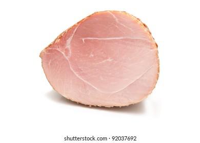 smoked ham on white background. - Shutterstock ID 92037692