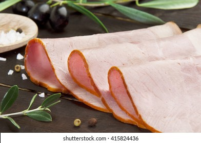 smoked ham slices naturally blended and cooked with olive oil