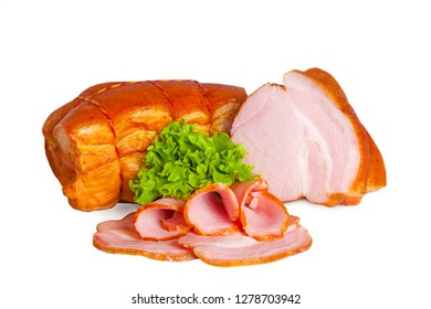 Smoked loin whole and partly sliced isolated on white background. Fresh meat product decorated lettuce leaf
