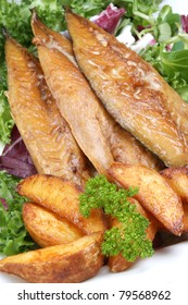 smoked mackerel fillets with grilled potato wedges