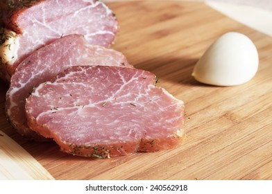 Smoked meat on a cutting board