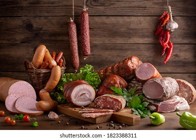 smoked meats and sausages in assortment