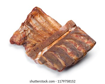 Smoked pork ribs isolated on white background