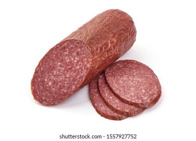 Smoked pork Sausage, dried pork salami, isolated on white background.
