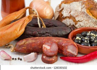 smoked products with corn bread and pepper