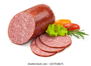 Smoked Salami with Slices, lettuce and tomatoes, isolated on a white background. Close-up.