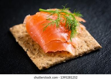 Smoked salmon canape close up