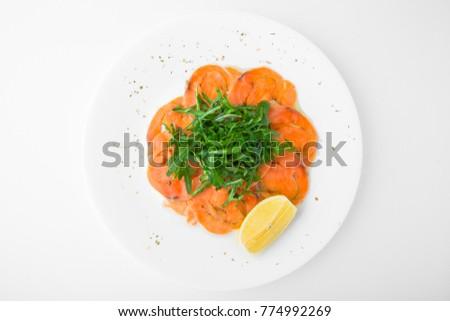 Smoked Salmon Carpaccio Rocket Salad Restaurant Stock Photo Edit