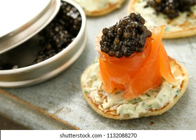 smoked salmon with caviar canapes