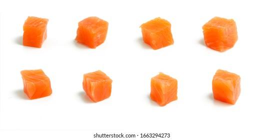 smoked salmon cube on white, orange background