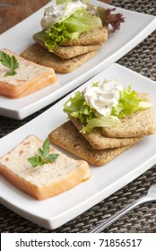 Smoked salmon and dill terrine with biscuits and lettuce