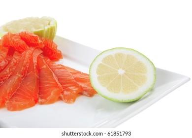 smoked salmon and green sauce on white