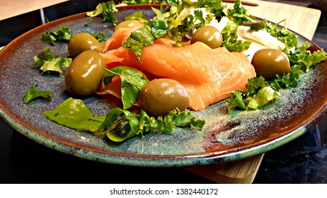 Smoked Salmon Healthy Plate With Herbs