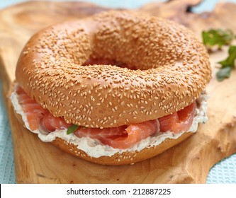 Smoked salmon lox with a cream cheese