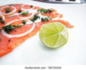 Smoked salmon on dish