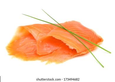 Smoked salmon on white background.