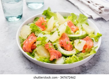 Smoked salmon salad, with mixed greens, avocado,grapefruit. Delicious healthy eating.
