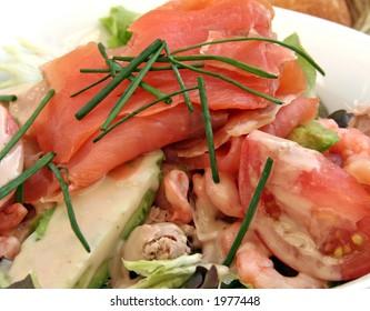 Smoked salmon salad with tuna and prawns