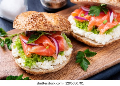 Smoked Salmon Sandwich with cream cheese for breakfast .