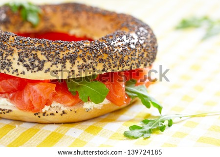Smoked Salmon Sandwich with cream cheese on bagel