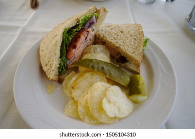 Smoked salmon sandwich for lunch on the train that goes from Anchorage to Fairbanks