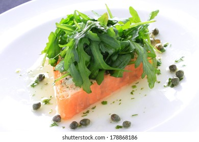 smoked salmon terrine with rocket