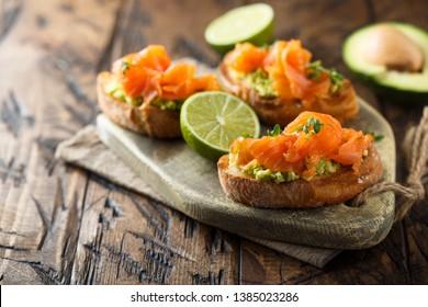 Smoked salmon toast with guacamole