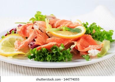 Smoked salmon and vegetables